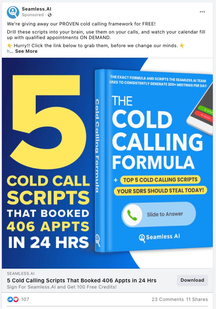 Seamless.AI  B2B and service-focused Facebook ad example