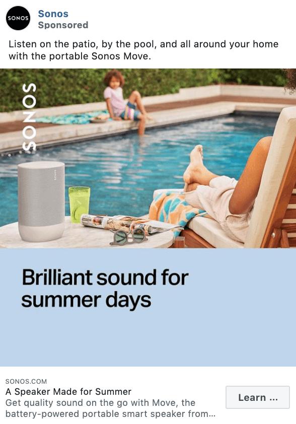 Sonos Facebook Ad Example