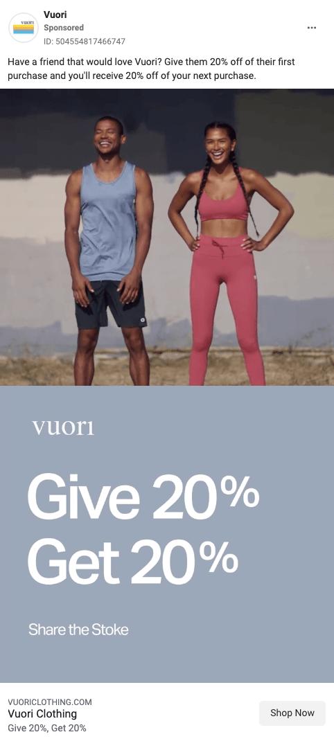 Vuori Facebook Ad promotional offer Facebook ad example
