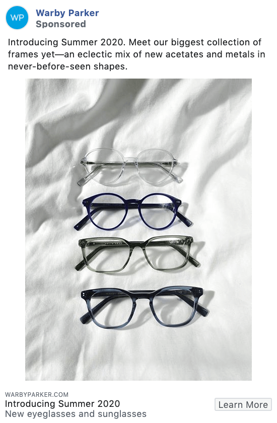Warby Parker product-focused Facebook ad example