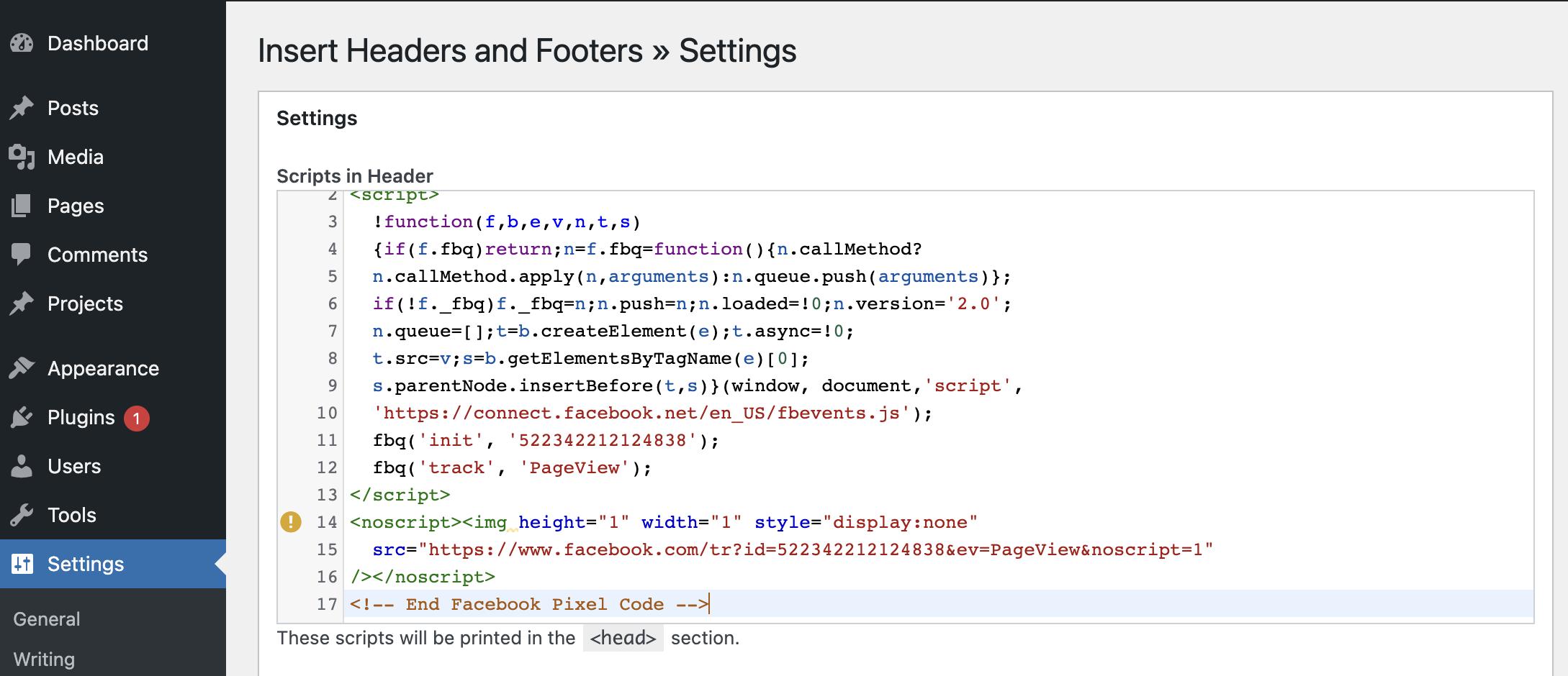 Paste Facebook Pixel into the Scripts in Header box
