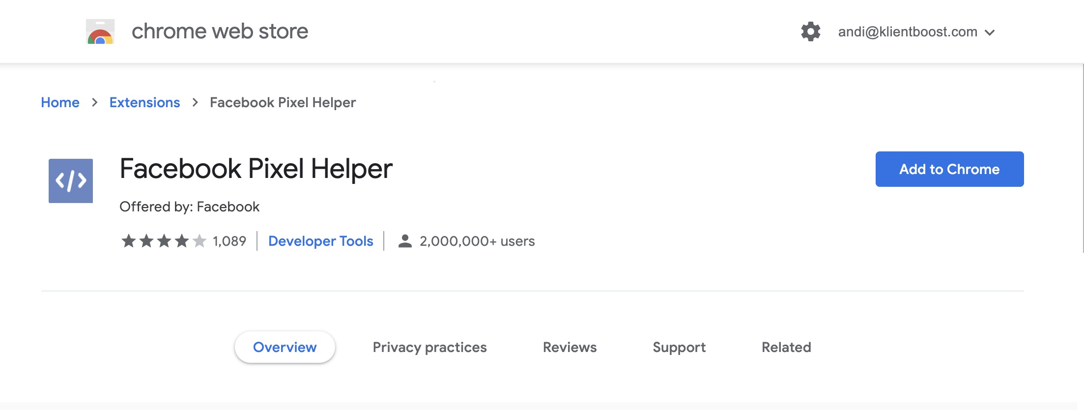 Install the Facebook Pixel Helper Chrome extension