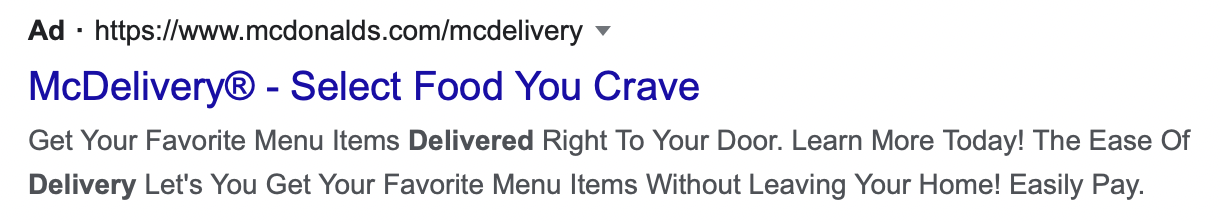 Ad example McDelivery