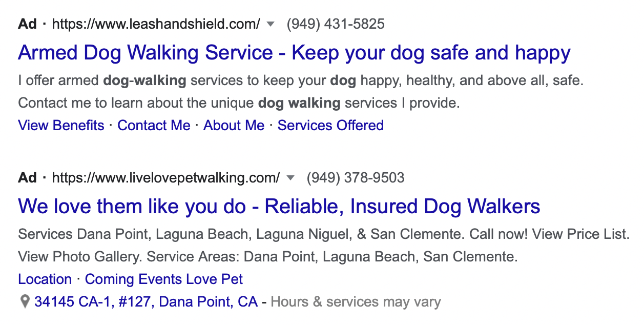 Ad Dog walkers that will calm your fears.