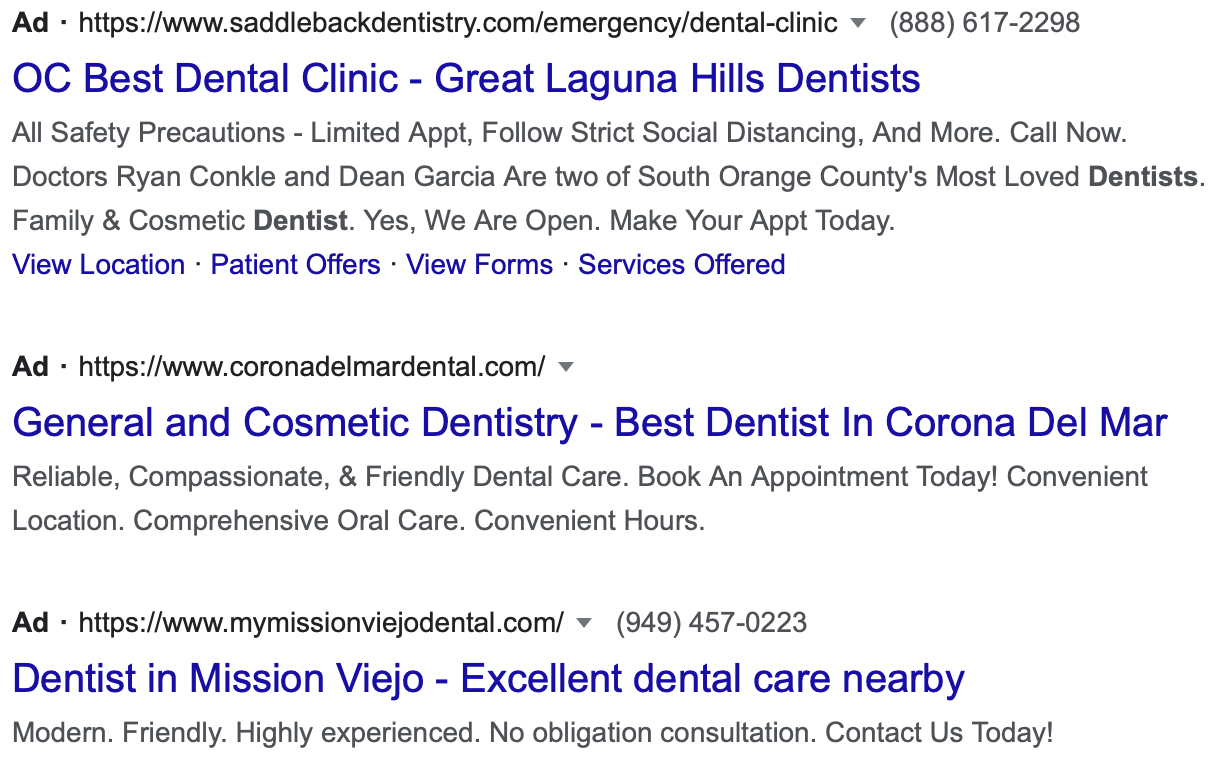 Dentist geographically-specific ad copy