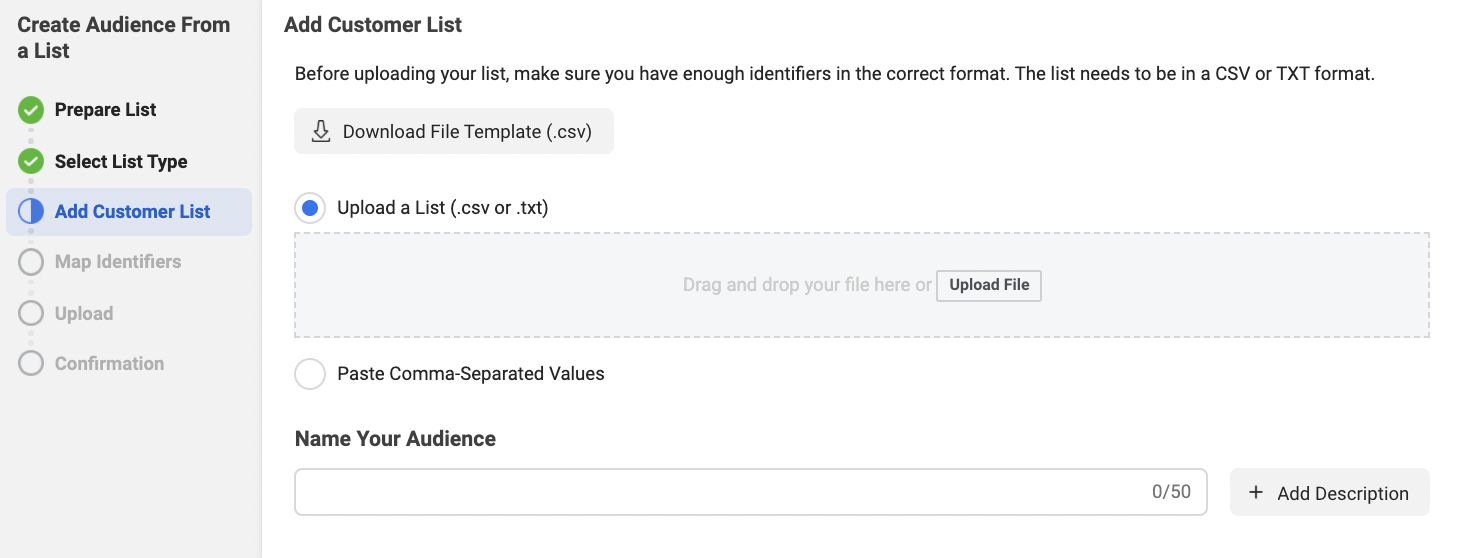 Where to upload Customer List for Facebook custom audience