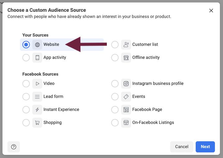 Facebook Custom Audience based on Website activity