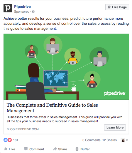 A Facebook Ad example from Pipedrive that is relevant to a large number of people