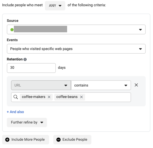 Example of targeting specific web page viewers using Facebook Custom Audience