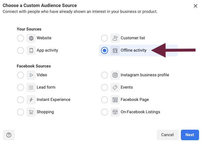 How to use offline activity for a Facebook Custom Audience