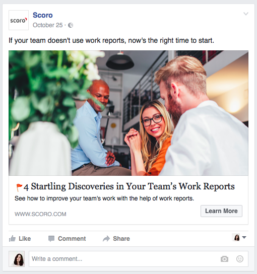 How you can use Facebook Ads to A/B test article headlines example