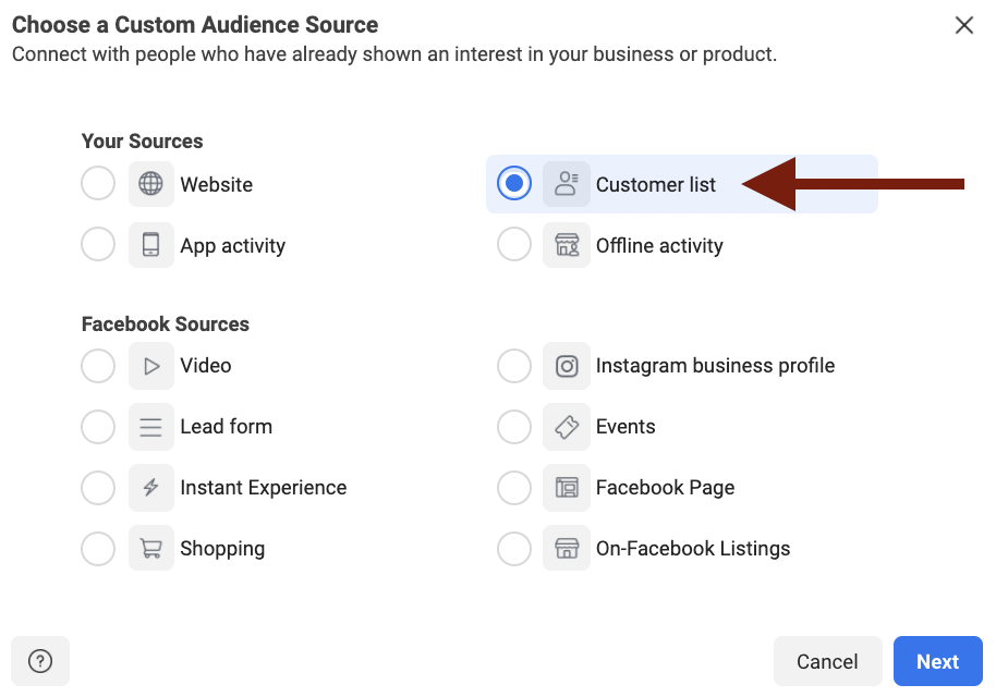 Uploading a customer list for Facebook custom audience