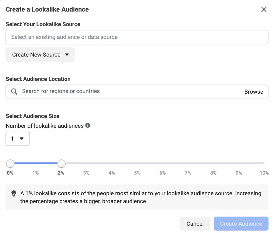 Facebook Lookalike Custom Audience Starting Screen