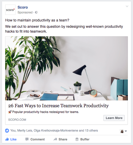 A promoted blog post Facebook Ad from Scoro