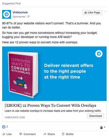Example of a Facebook Ad promoting an eBook