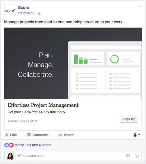 Example Facebook ad by Scoro targeting visitors of a specific web page