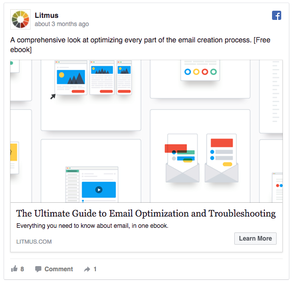 Facebook Ad example from Litmus to product users