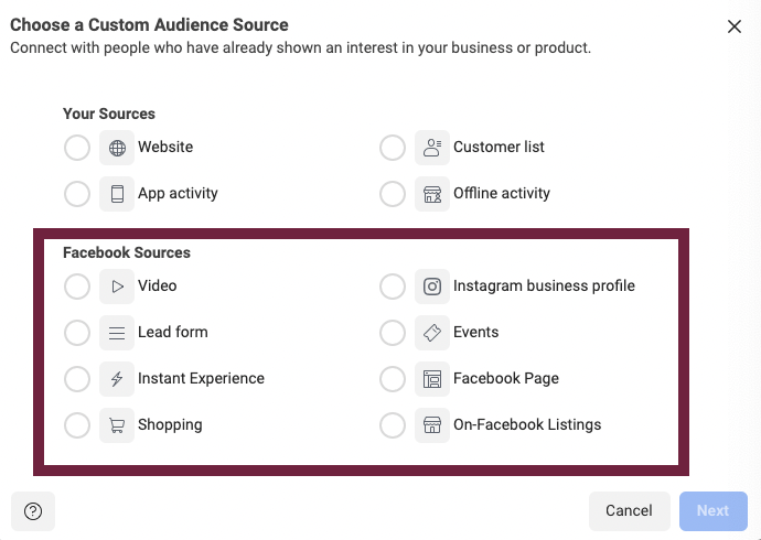 All the Facebook Source options available when creating a Facebook Custom Audience