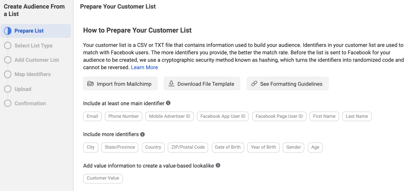 Import from Mailchimp or Upload a File for Facebook Custom Audiences based on Customer List
