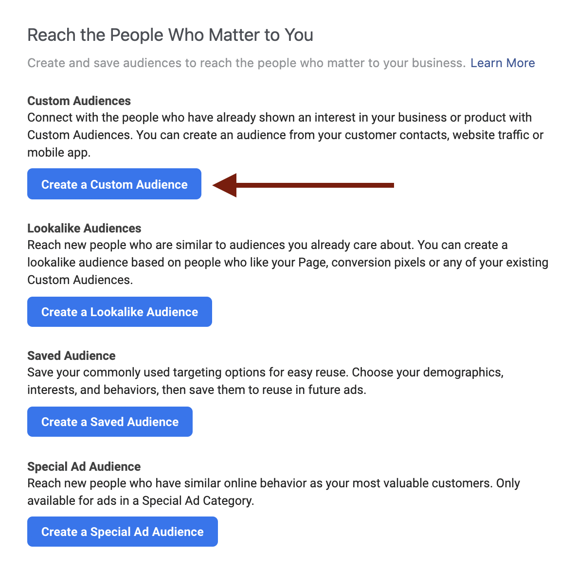 How to Create a Custom Audience in Facebook