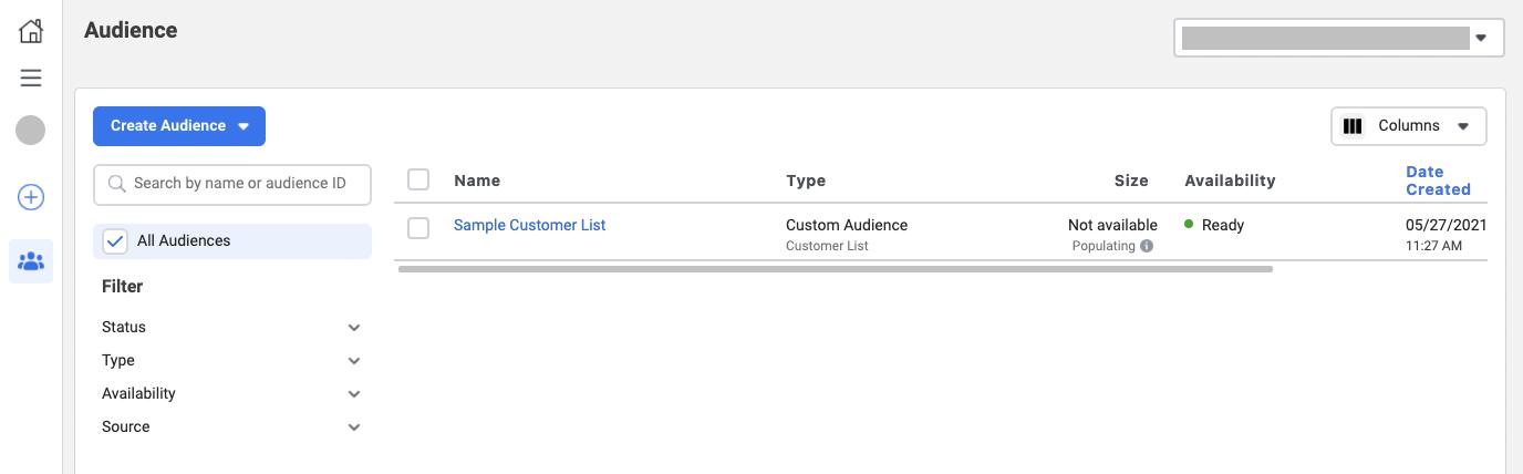 Uploading a customer list in Facebook Custom Audience