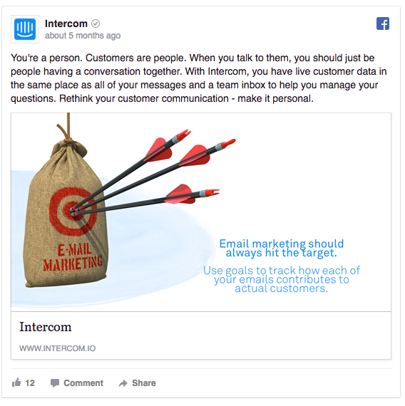 Example Facebook ad from Intercom targeting people who visited their Email Marketing page