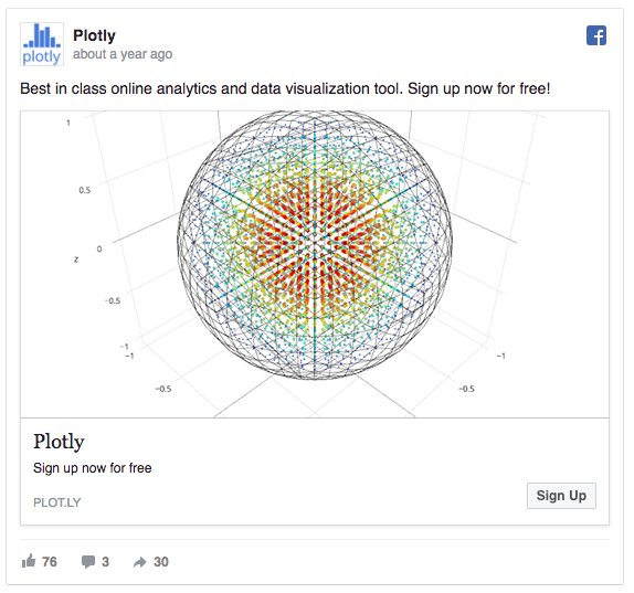 Plotly's Facebook Ad using the key value proposition in the messaging