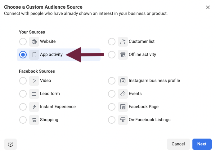 How to use App Activity to make a Facebook Custom Audience