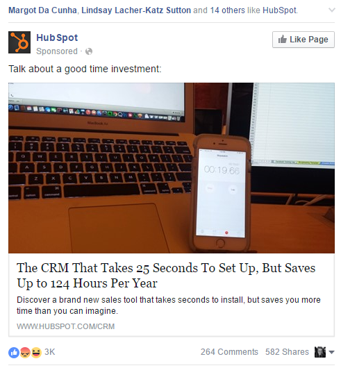 Facebook ad example to target free trial users using Facebook Custom Audience
