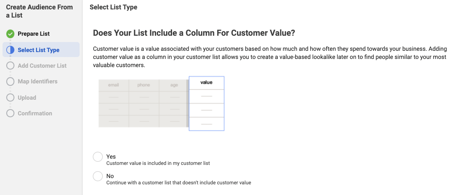 Including Value in Customer List for Facebook Custom Audience