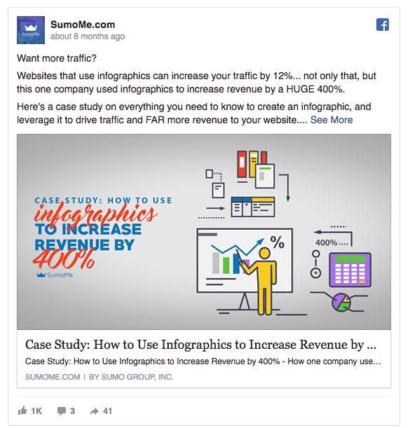 A Facebook Ad example that provides value from SumoMe