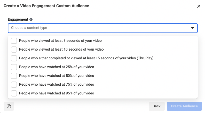 Video engagement targeting options using Facebook Custom Audience
