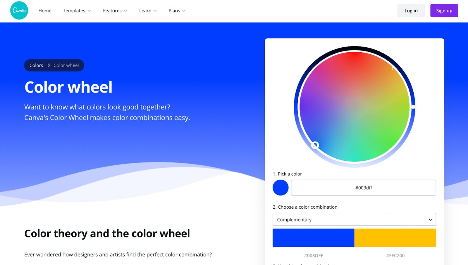 Canva color wheel tool