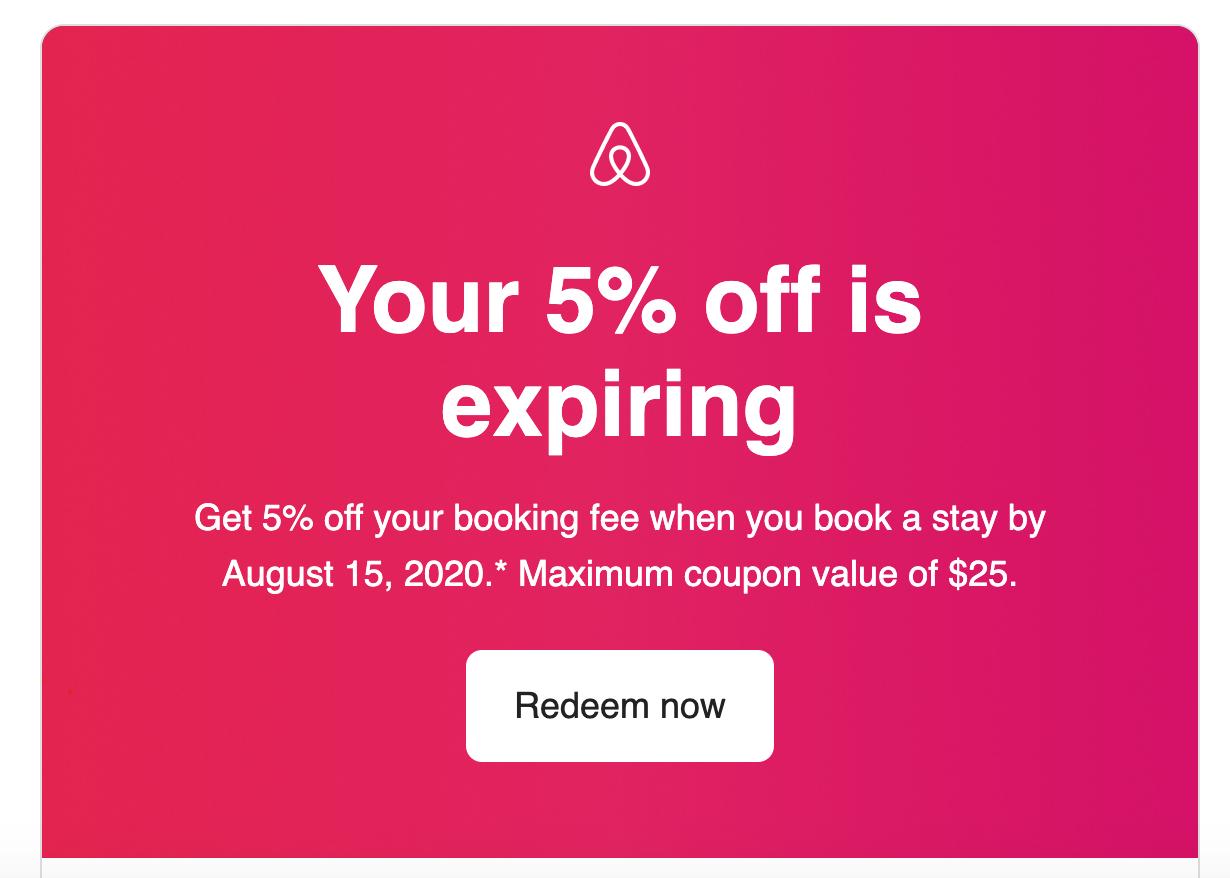 Airbnb Redeem Now CTA