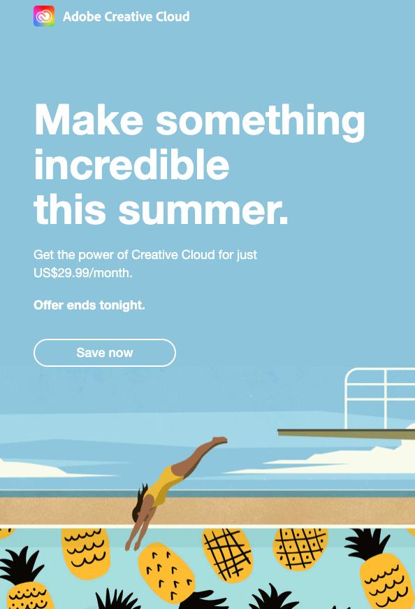 Adobe Save Now CTA