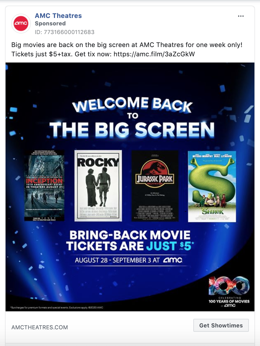 AMC Theatres Get Showtimes CTA