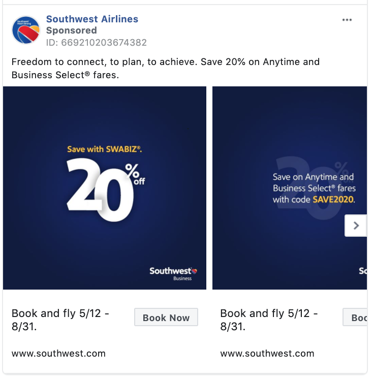 Southwest Airlines Book Now CTA