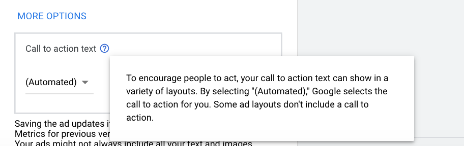 Google Display Network call-to-action options