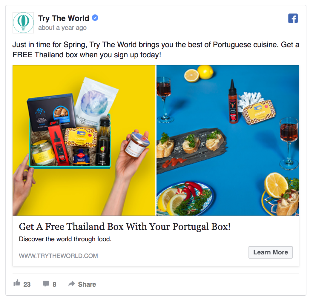 Try The World's ad is targeting cold or lukewarm leads