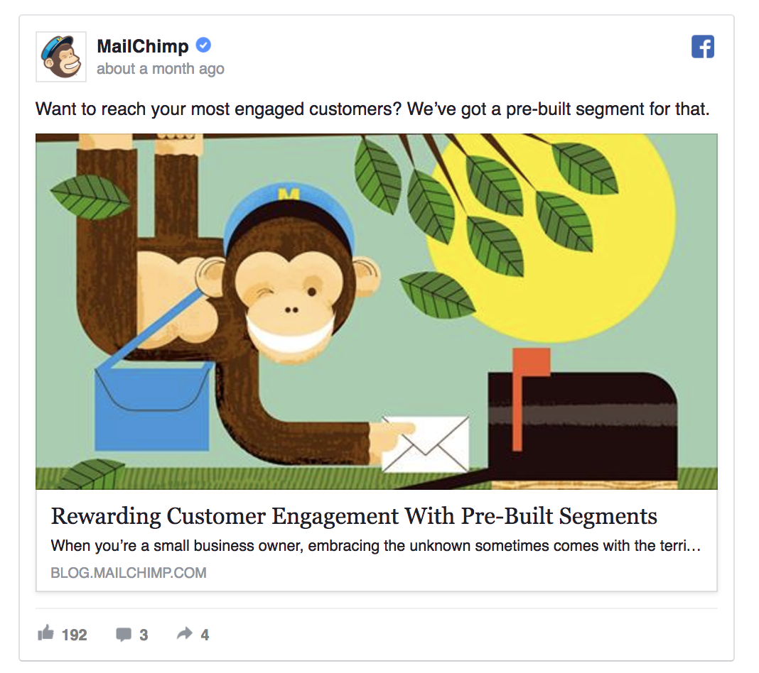 MailChimp's Facebook ad is targeted on advanced users