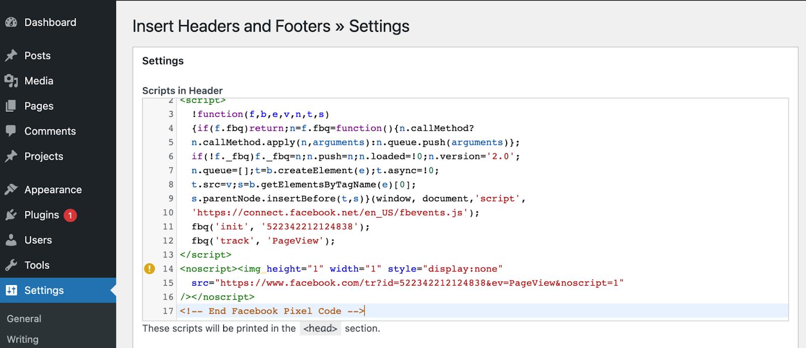 Facebook pixel code looks like this