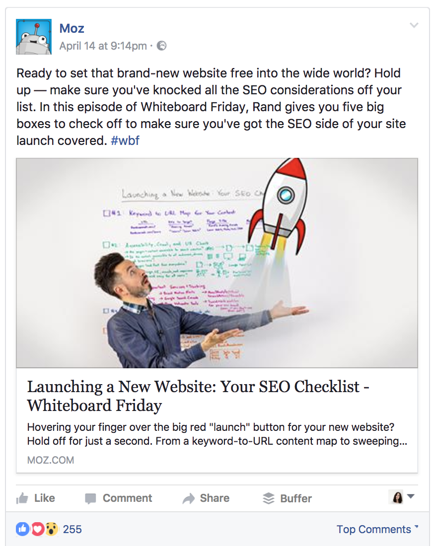 Moz's blog articles are a soft sell