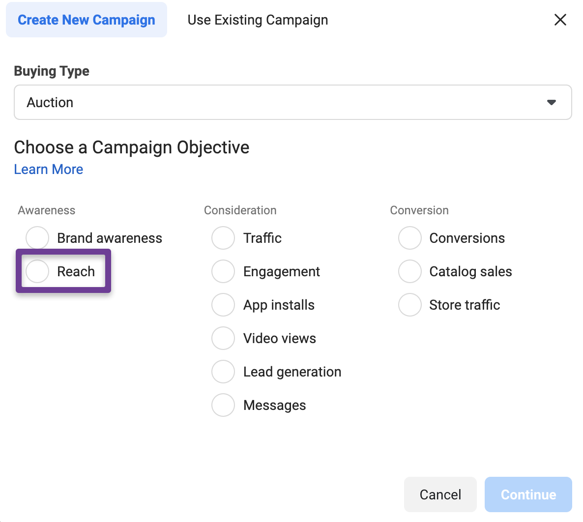 Campaign objectives tell Facebook about your goals