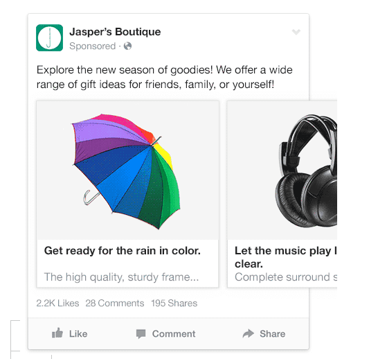 Facebook multi-product ads include several products