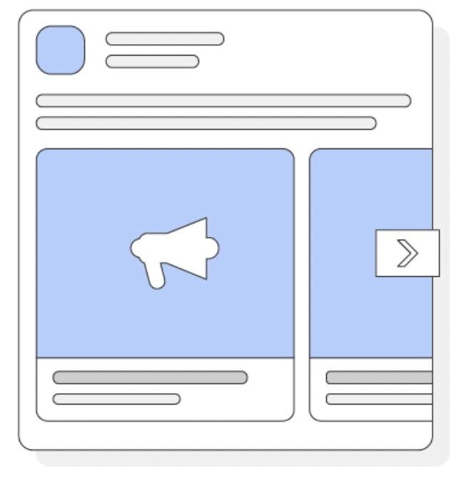 Desktop carousel facebook ad (image or video): 1080 x 1080 pixels