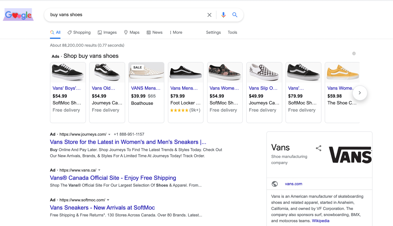 Google Shopping Ads at the top of Google Search Engine Results Page (SERP)