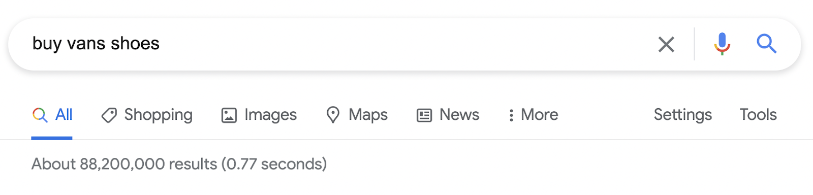 Google Shopping is a search option under the search bar