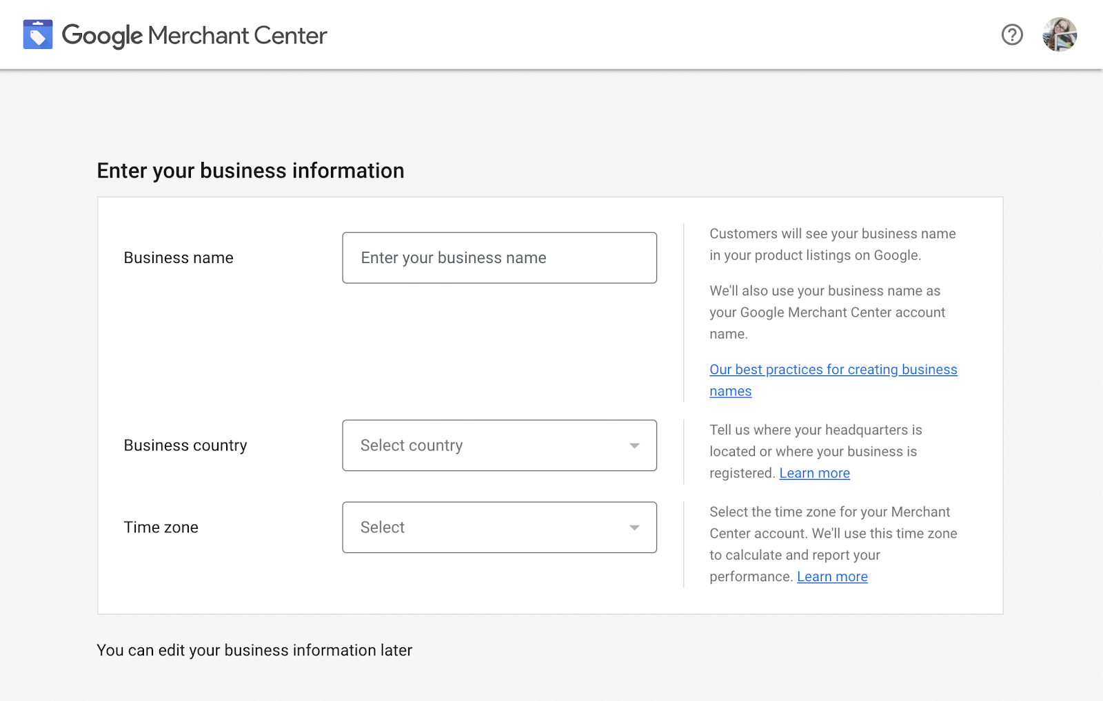 Enter your business name, country, and time zone to get started with GMC