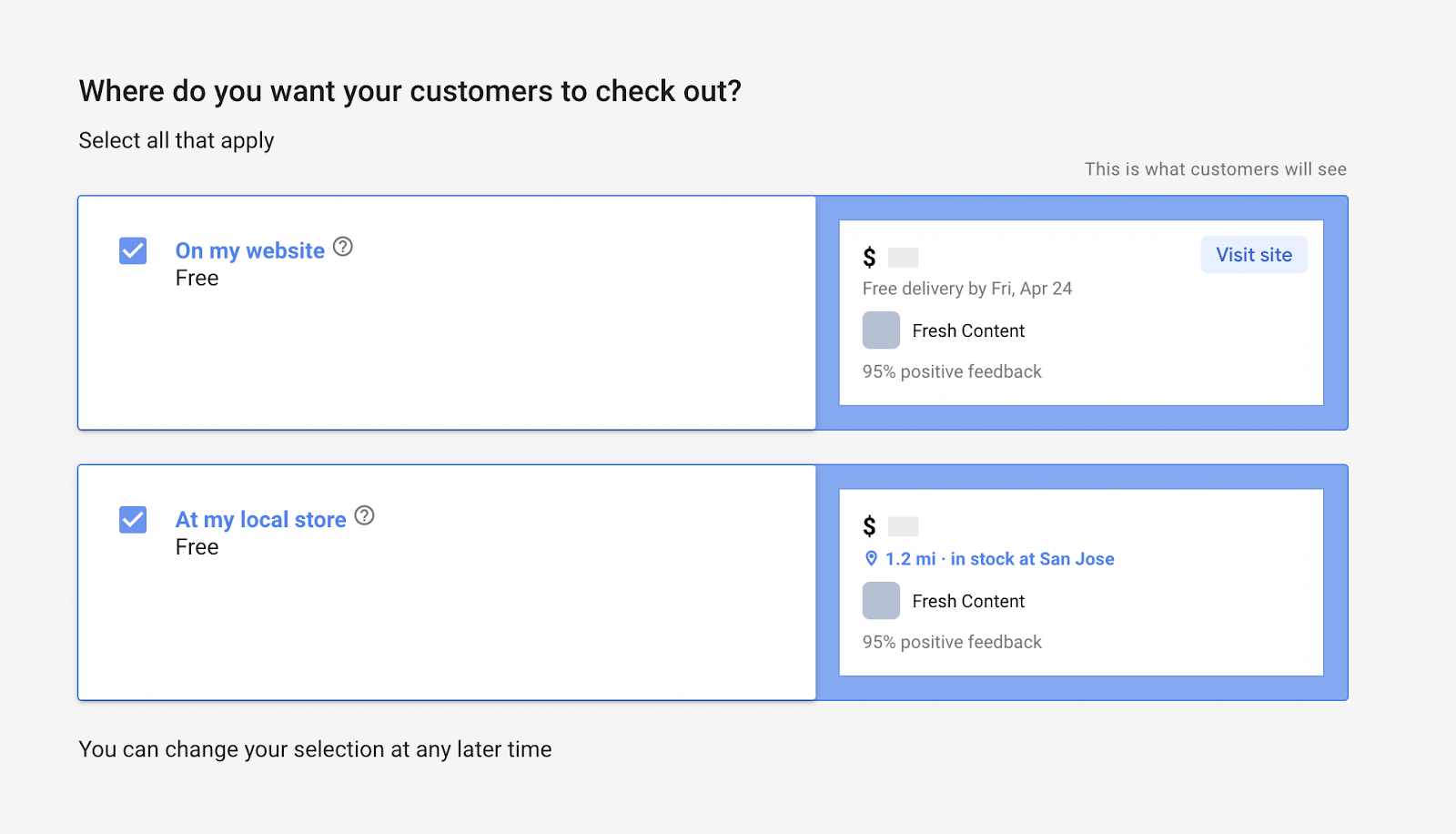 Select your check out preference