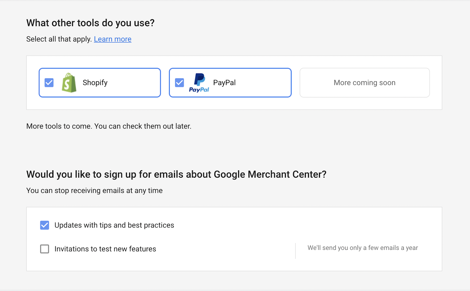 Select your tools and your Google Merchant Center email preferences
